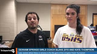 Denham Springs girls basketball coach Blake Zito and Kate Thompson