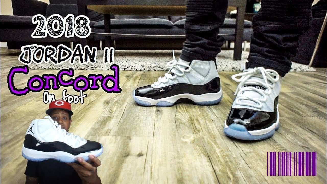f4fcc75865d 2018 Jordan 11 Concord On Feet!! - YouTube