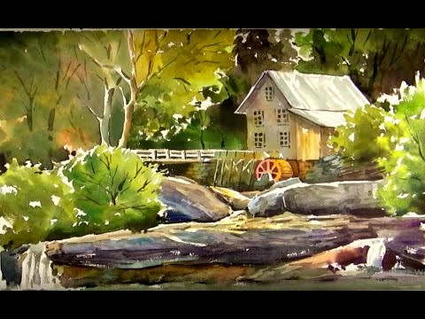 Watercolor Painting old mill wallpaper