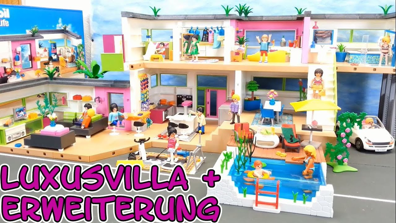 playmobil riesige luxusvilla komplett mit erweiterung. Black Bedroom Furniture Sets. Home Design Ideas