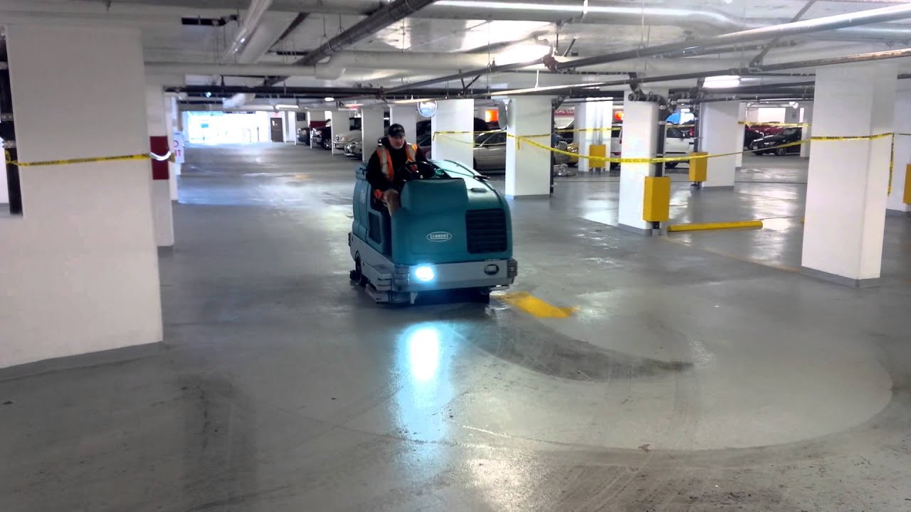 Atlas parking lot services scrubbing demo youtube for Garage floor cleaning companies