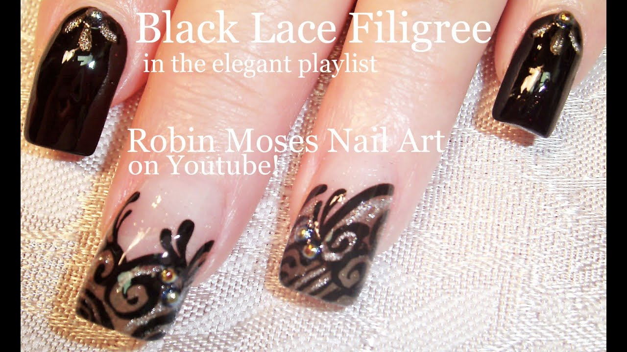 Nail Art Tutorial | Easy Nail design Ideas | Formal Black lace nail Art - YouTube & Nail Art Tutorial | Easy Nail design Ideas | Formal Black lace nail ...
