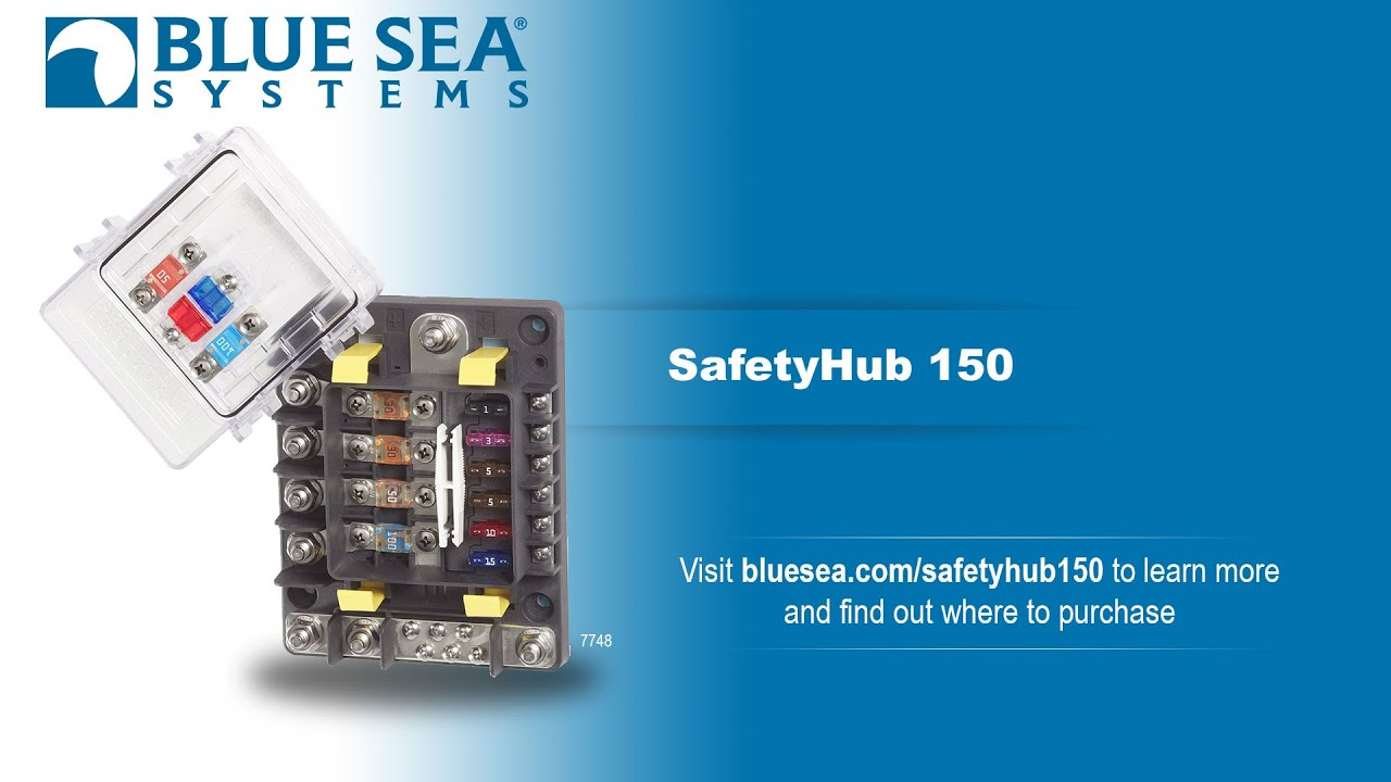 blue sea safetyhub 150 fuse block 4 x high amp circuits and 6 x 30a circuits incl negative bus and cover bs7748  [ 1280 x 720 Pixel ]