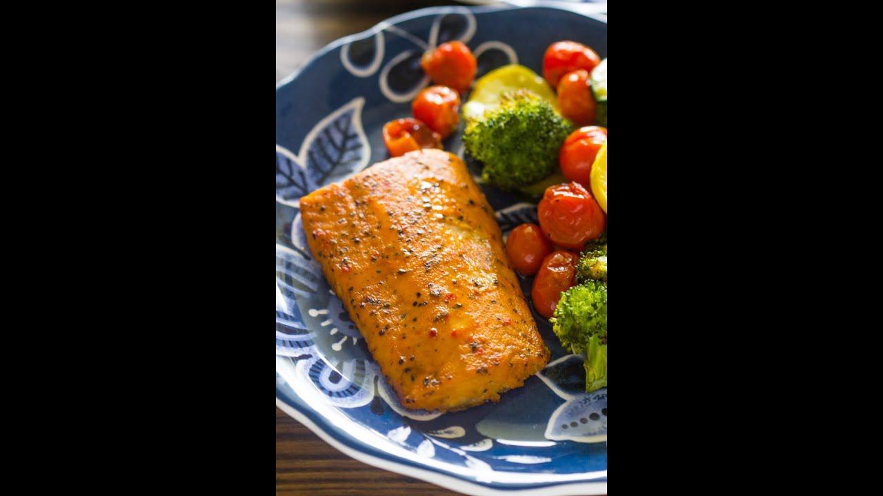 Easy One Pan Baked Salmon with Veggies - YouTube