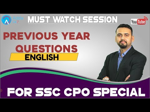 SSC CPO Special Session | Previous Year English Questions | Must Watch Session
