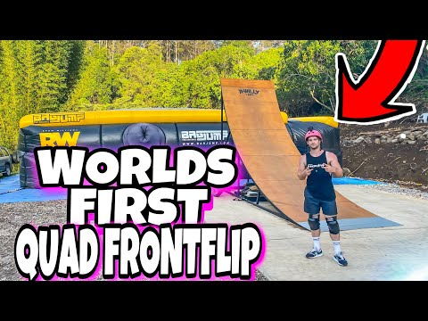 WORLDS FIRST QUAD FRONTFLIP AT R WILLY LAND || *air bag landing*