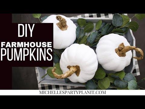 DIY FARMHOUSE PUMPKINS -  Dollar Tree DIY - Craft with Me!