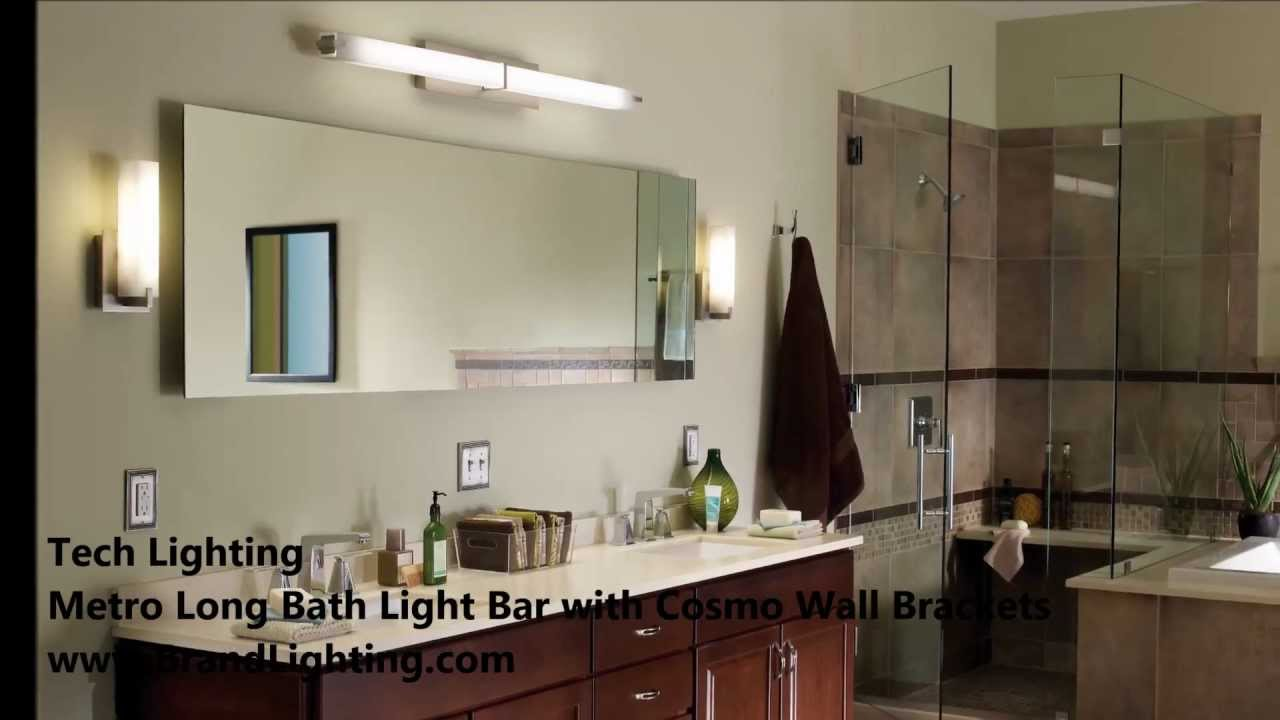 Bathroom Vanity Lighting With Tech Lighting Metro Long And Cosmo - Long bathroom light fixtures