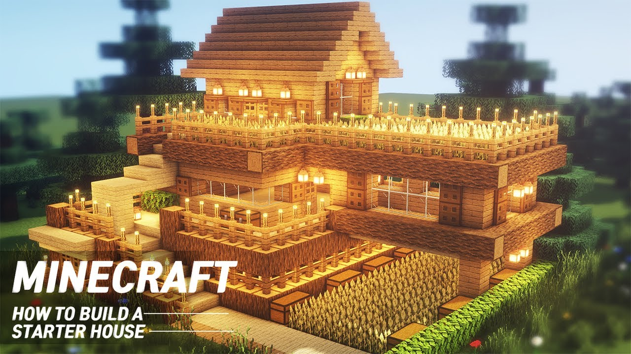 Easy Minecraft Starter House Tutorial How To Build In Minecraft Youtube
