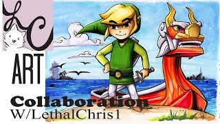 TLOZ Wind Waker Toon Link / Copic Marker Coloring (Collaboration w/ LethalChris!)