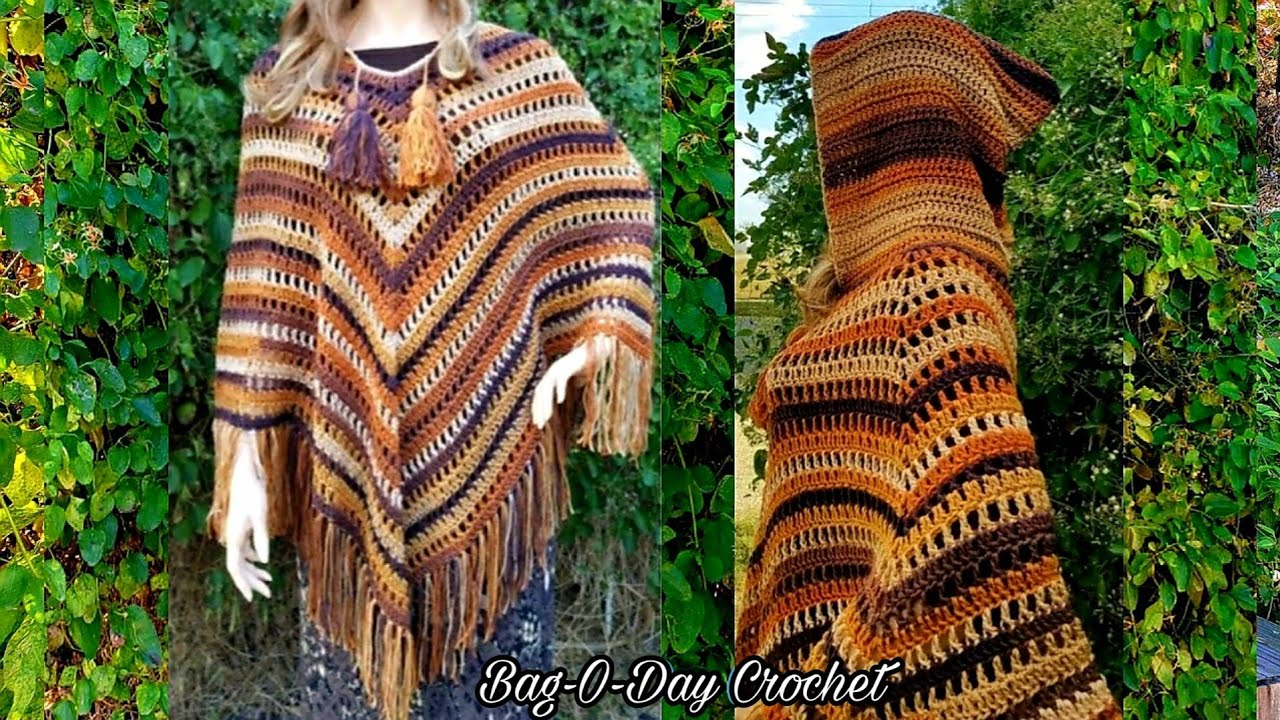 CROCHET PONCHO Cozy Caramel Macchiato Hooded Ladies Boho crochet ...