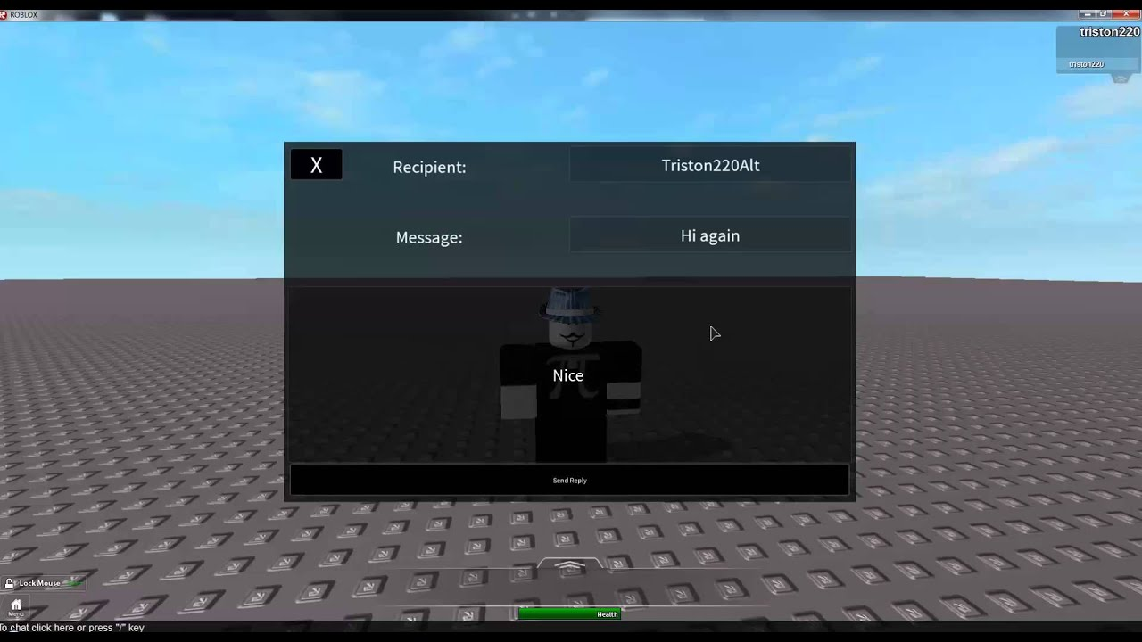 how to pm in roblox in game