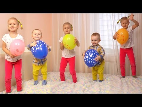 Learn Colors with Balloons Five Little Babies Jumping On The Bed Educational Videos Good Song kids