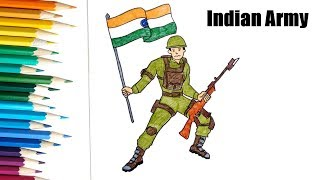 How to draw Indian Army | Independence Day Drawing for kids