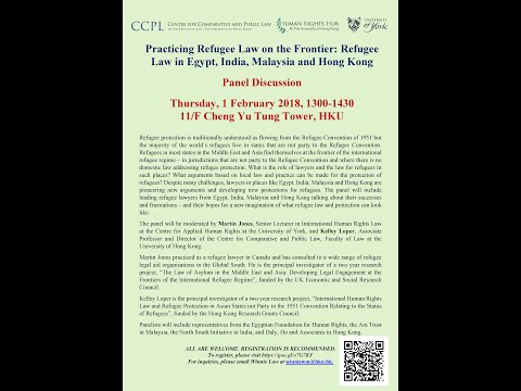 Practicing Refugee Law on the Frontier: Refugee Law in Egypt, India, Malaysia and Hong Kong