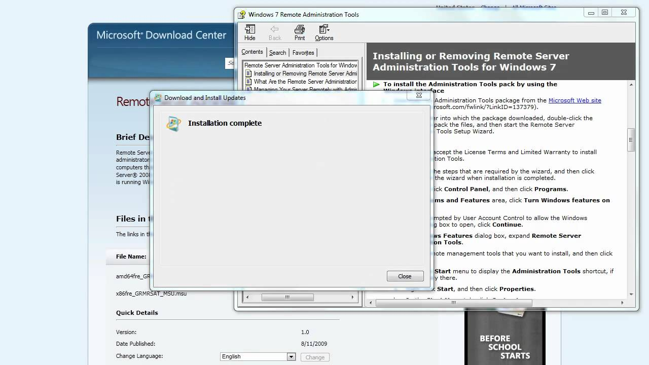 Step 2 - Setting up the Hyper-V Admin Console using RSAT for Windows 7