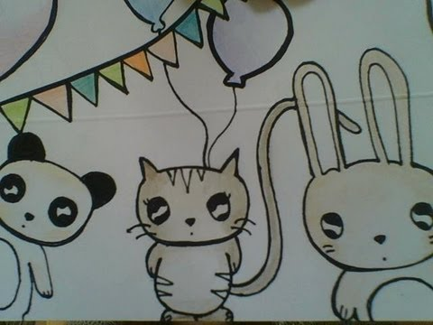 How to kawaii: cute animal party- easy draw with me - YouTube