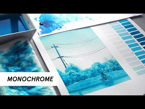 How to Paint with One Color! / (Monochromatic Studies w/ Watercolors!)