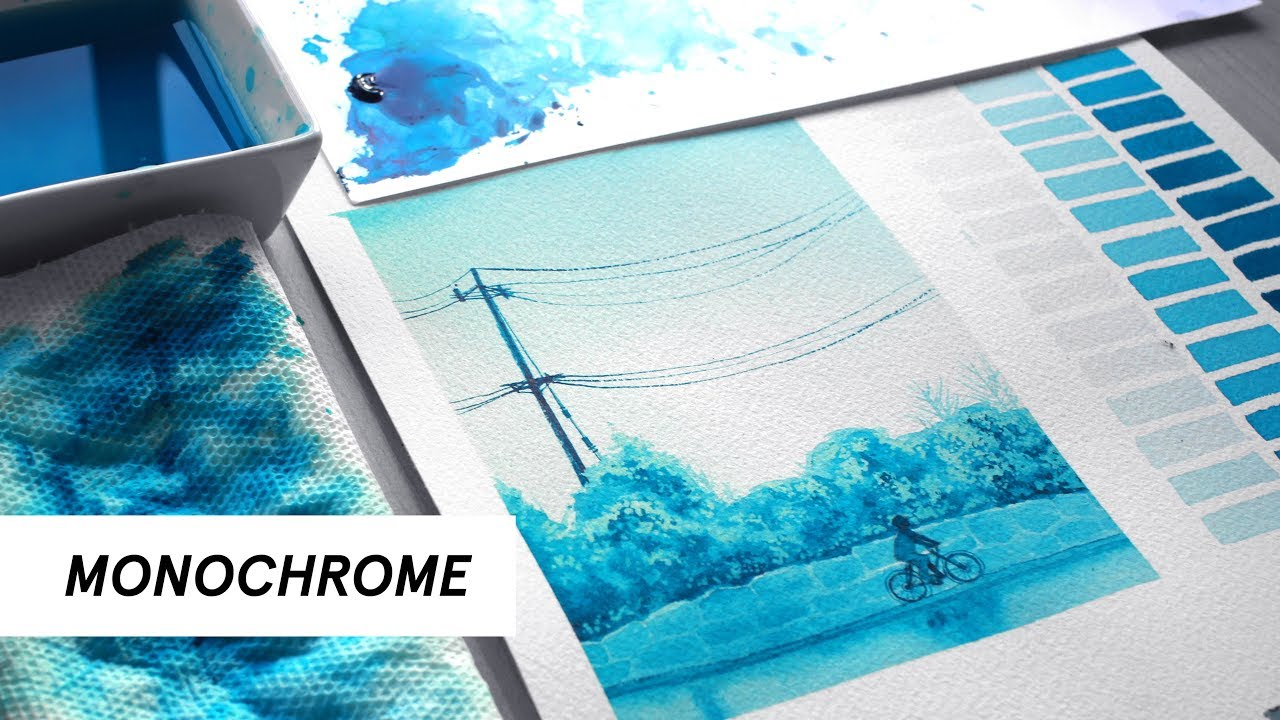 How To Paint With One Color Monochromatic Studies W Watercolors