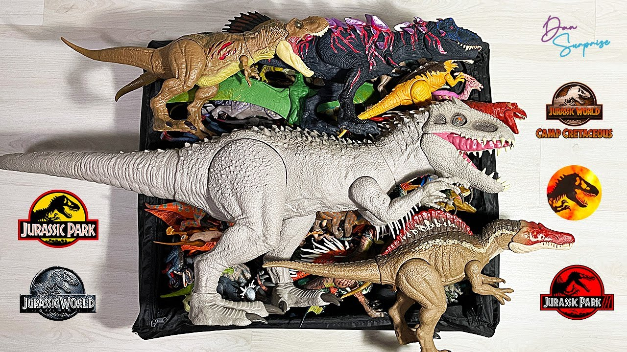 COLOSSAL BOX OF 100 Dinosaurs from Jurassic World Camp Cretaceous, Jurassic Park and Lost World