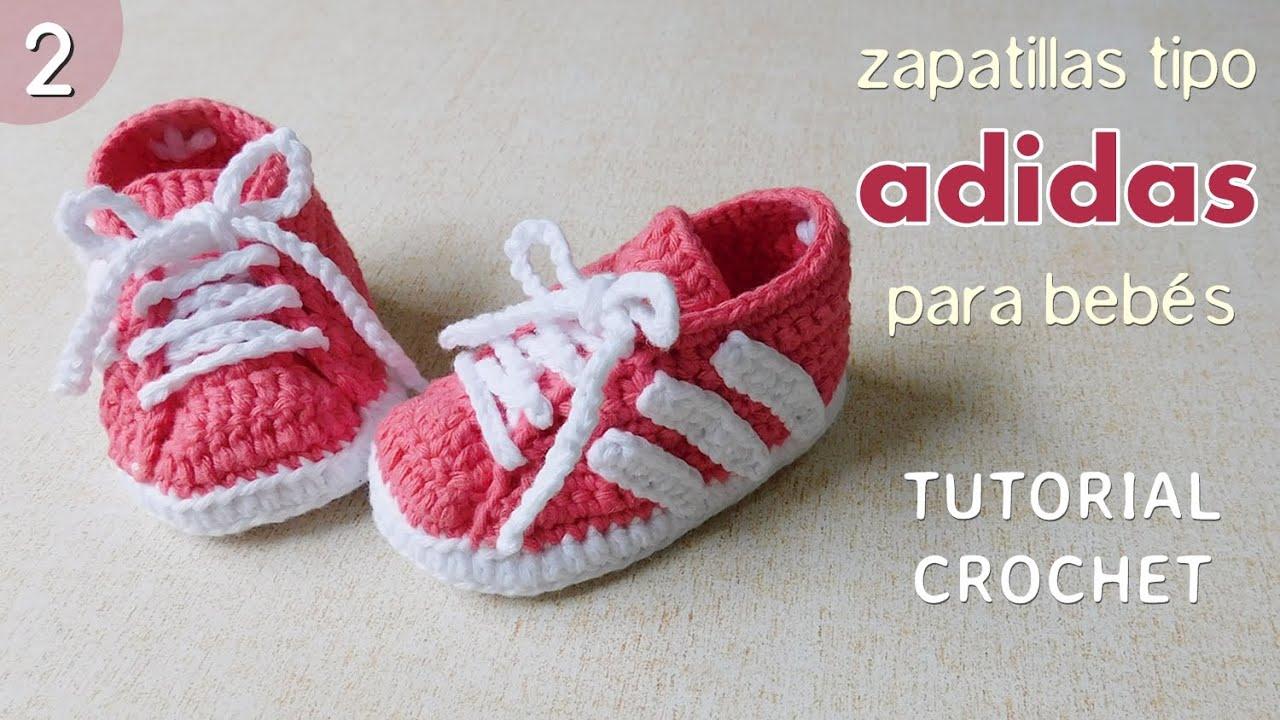 habilidad gradualmente mitología  Zapatillas Adidas a crochet para bebé (Parte 2 de 2) - YouTube