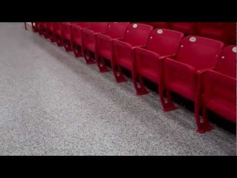 Kiefer Gym Epoxy Paint Chip Floors- Basketball Court seating areas by www.hawkeyecustom.com