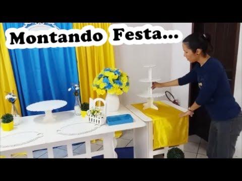 Montando DECORAÇÃO de FESTA Comigo -  Amarelo e Azul #decorandofestacomigo