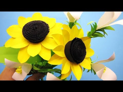 How To Make Sunflower Paper Flower Craft Tutorial Youtube