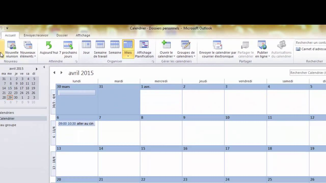 Synchronisation Calendrier Outlook.Comment Partager Le Calendrier Outlook 2010