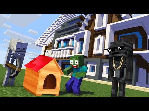 Monster School : BUILDING HOUSE Challenge - Minecraft Animation