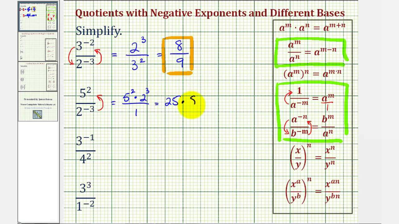 Ex: Simplify Quotients With Different Bases And Negative Exponents  Multiplying Variables With Exponents