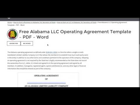 Free Alabama LLC Operating Agreement Template – PDF – Word