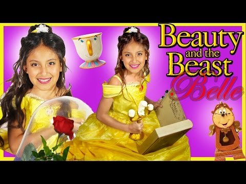 Belle costume disney princesses in real life toys Beauty and the Beast trailer movie kid makeup