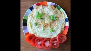 puffy and soft Italian style omelette with potatoes and mozzarella cheese.