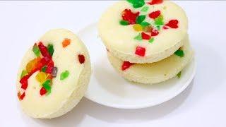 कटोरी-कढ़ाई में बनाये एग्ग्लेस सूजी केक ( कपकेक्स ) - कटोरी केक रेसिपी - Suji Cupcake Recipe
