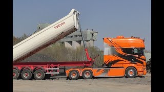 5 Scania Trucks Tipping Trailers