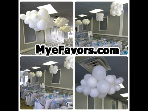 How to Make a Floating Balloon Cloud - Baby Shower Heaven Sent Theme Party - DIY
