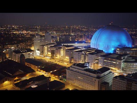 2552. Globen (Stockholm Globe Arena) Drone Stock Footage Video