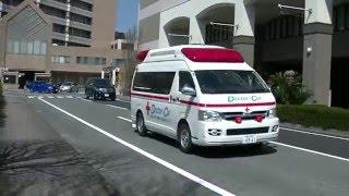 緊急要請により救命救急センターより緊急出動する熊本赤十字病院のドク...