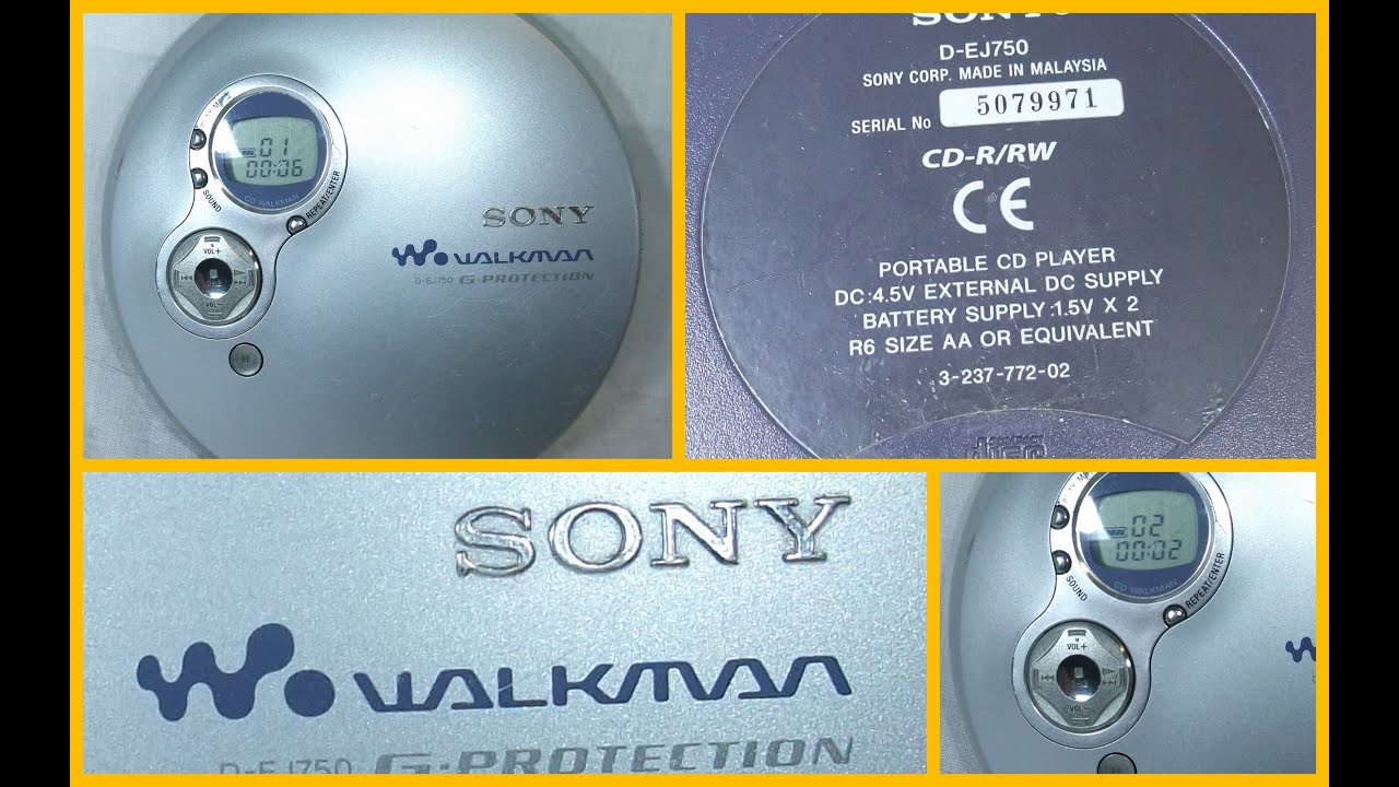 Sony Walkman D Ej750 Personal Portable Cd Player G Protection Working Youtube