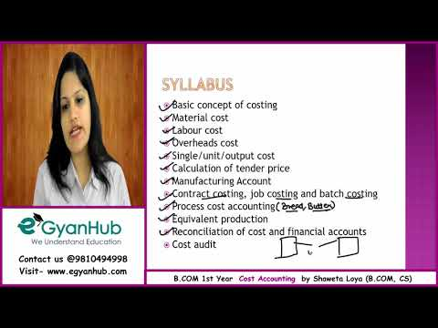 B.COM 1st year Cost Accounting Online Classes | Costing | B.COM Syllabus| Introduction to Costing