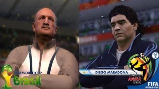 FIFA 2014 vs FIFA 2010 World Cup Comparison (Maradona, Dunga, Scolari, Capello)