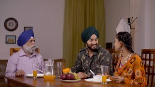 Indian army officer talking to his father and wife at the breakfast table - Serious discussion in Sikh family
