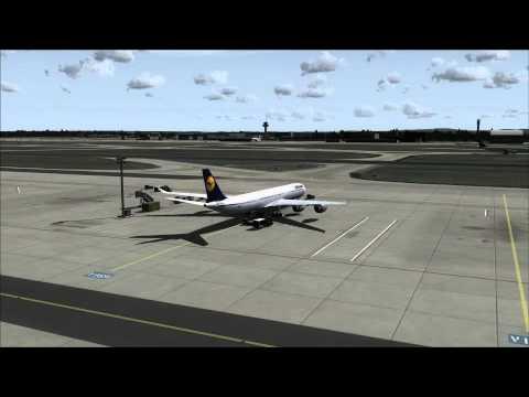 Lufthansa A340-600 at parking pos V169 Frankfurt