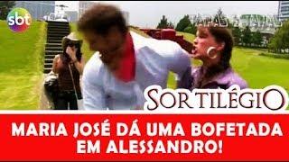 SORTILÉGIO   Maria José dá uma bofetada em Alessandro.