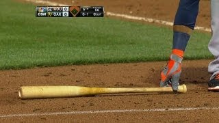 Villar throws bat at ball in bunt attempt
