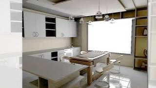 дизайн кухни с полками, стеллажами, потолком.