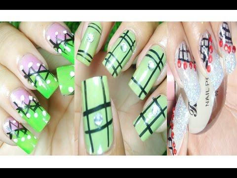 Nail Art Paint Ideas – Nail Art Tutorial – Nail Polish – Black Strips Green Styles (Part 20)