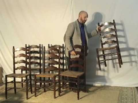 antique ladder back chairs with rush seats wingback reclining set of seven ladderback dining youtube
