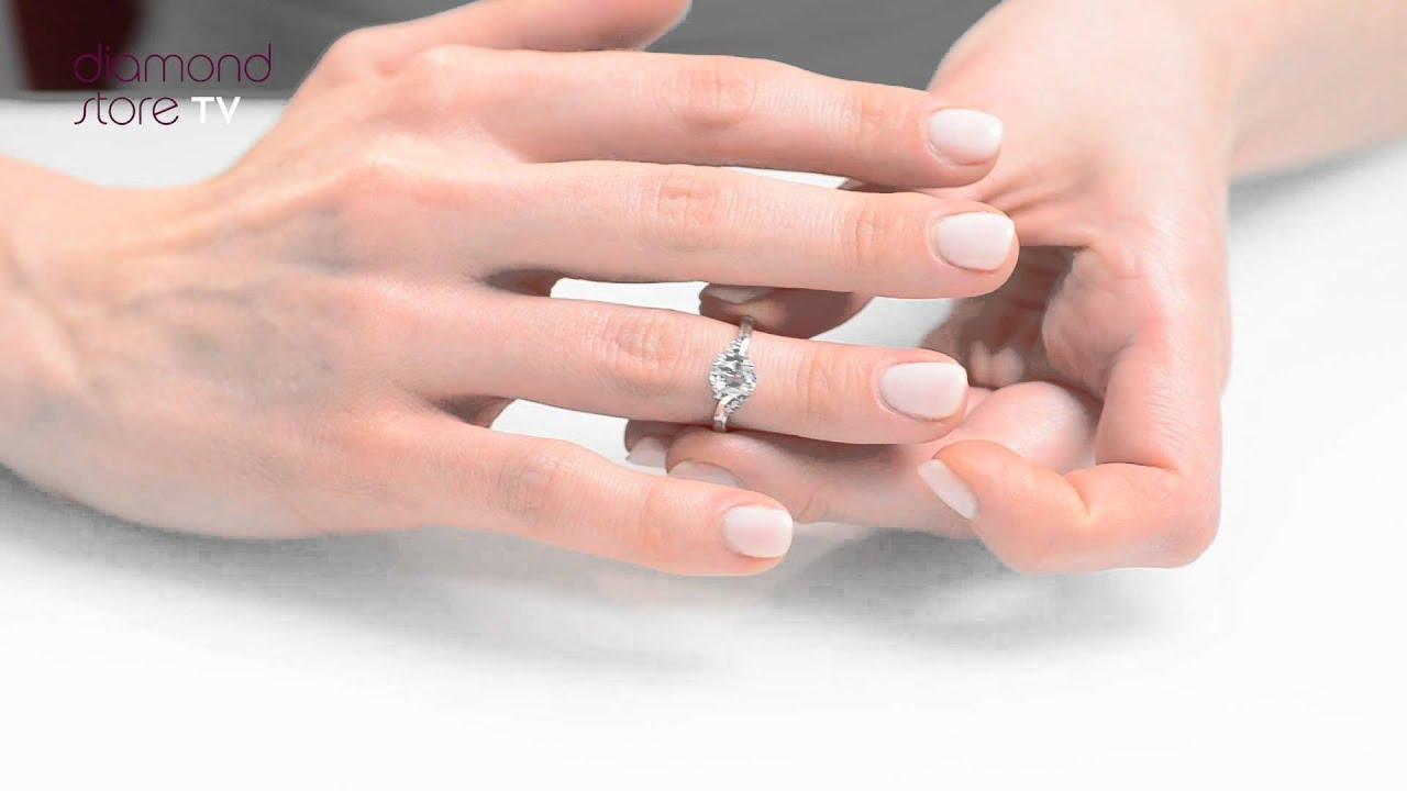 Aquamarine & Diamond 0.70ct Ring In 9K White Gold - E5731 - YouTube